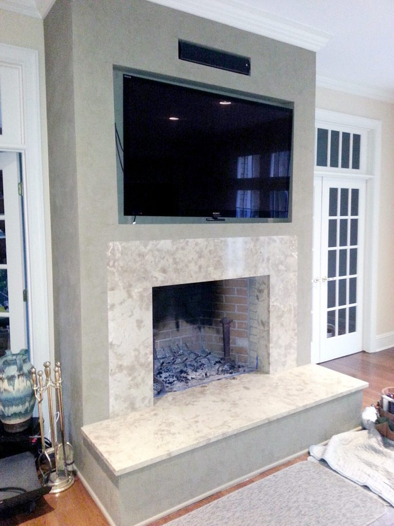 Marble Fireplace Glass Door Before