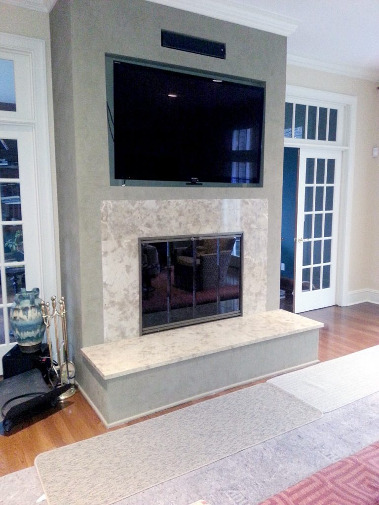 Marble Fireplace Glass Door After
